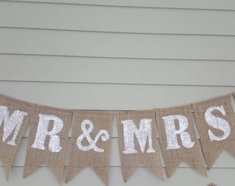 Mr&Mrs  burlap banner  made by a stay at home veteran