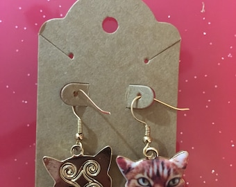Gold Tabby Cat Earrings