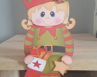 Blonde haired girl elf, christmas card and envelope, decoration