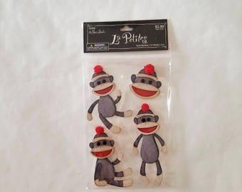 Sock Monkey Stickers 3-D La Petites by the Paper Studio