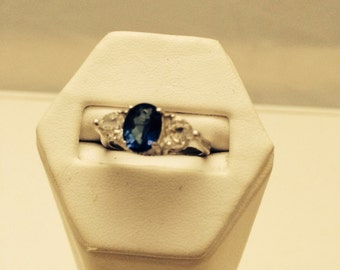 Art Deco style sterling silver ring engagement size 7 sapphire blue cz white cubic zirconia  925 vintage filigree