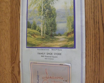 1938 Calendar with Print Family Shoes from Williamsport, Pa