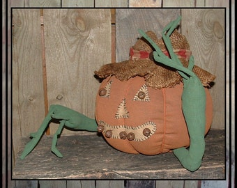 Primitive folk art Pumpkin man jack o lantern vine arms wired fingers burlap hat HAFAIR haguild ofg faap