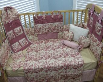 French Toile 14 Piece Baby Bedding Crib Set