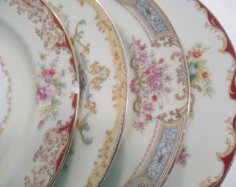 Vintage Mismatched China Salad Plates with Imperfections - Set of 4