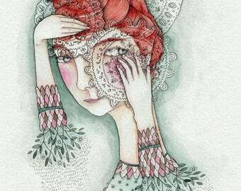 "MarmeeCraft lace folk girl art print, ""Lace and Leaf"""