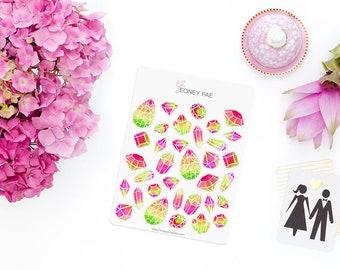 Watermelon Jewels Stickerset-watercolor sticker-pretty planning-scrapbooking-bullet journaling