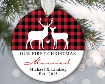 Our First Christmas Married Ornament Personalized Christmas Ornament Newlywed Ornament Red and Black Plaid Buck and Doe Deer Ornament OR778