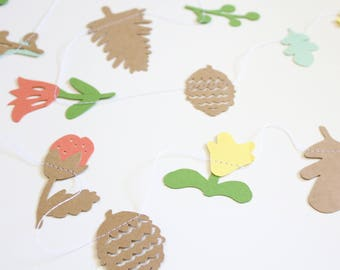 Woodland Florals Paper Garland - Fall Flowers, Pine Cones, Berries, Oak Leaves - Paper Flowers Garland