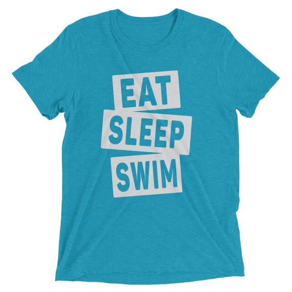 Men's Eat Sleep Swim Triblend T-Shirt - I Love Swimming - Available in 16 Different Triblend Colors - Men's Short Sleeve Swimming Shirt