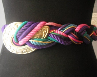 vintage 80s colorful Braided Belt with Gold medallion  .. Funky stretch Boho S M Candy Jewel tones