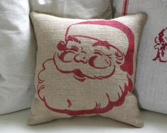 Burlap (hessian) Christmas Santa stuffed pillow