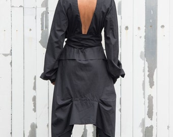 Extravagant Black Shirt / Asymmetric Shirt / Open Back Shirt / Plus Size Available