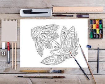 Printable adult coloring pages, flower plant therapy drawings, print, doodle art, zentangle images, digital print paper complex mandala