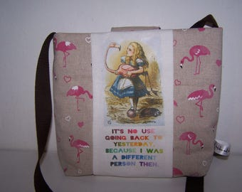 Alice in Wonderland handbag.  Flamingo, croquet, Alice bag.  Birthday gift for her, Christmas gift, Wedding Anniversary gift, quirky gift