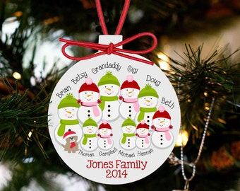 family Christmas ornament - snowman large family personalized holiday ornament SFCO