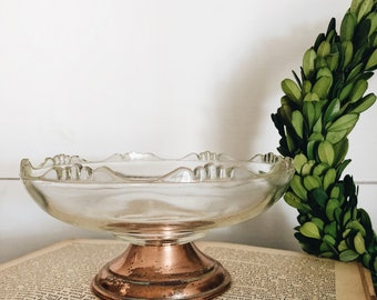 Scalloped Glass Dish Copper Base || Tarnished Copper || Candy Dish || Farmhouse Style || Pedestal Copper Base