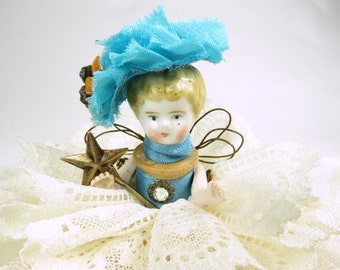 "Assemblage Angel ""Lacy Turquoise""  Assemblage Art Doll, Antique Doll Parts, Vintage Style Art Doll"