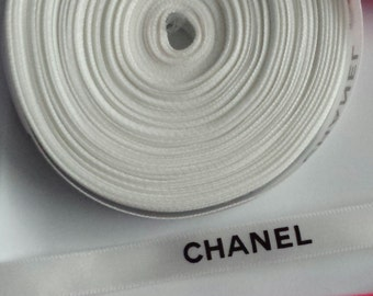 """Sale! 3/8"""" wide -  2 yards White Authentic CHANEL Ribbon New"""