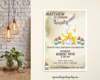 Birthday Brews Party Invitations, Men's Birthday Party Invitation, 21st Birthday Party, Milestone Birthday Invite, grunge, beers, cheers