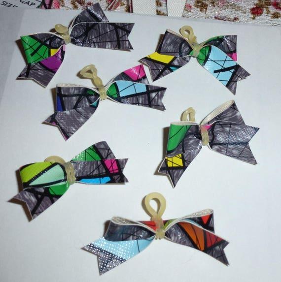 Puppy Bows ~6 gray block boys  EVERYDAY BOWS Yorkie Maltese Shih Tzu ~Usa seller (fb81)