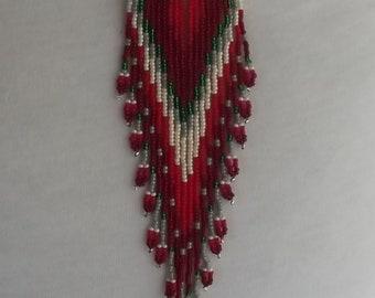 "6"" Extra long Beaded Earrings. Native American Inspired. FringeEarringsDSCF6666"