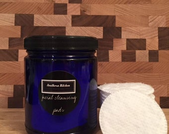 Facial Cleansing Pads for Southern Kitchen Beauty Box in a cobalt blue glass jar - Toxin Free, Vegan Friendly, and Infused with Argan Oil