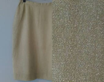 1950s Gold Lamé Bombshell Pencil Skirt