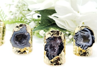 Adjustable 24K Gold Plated Natural Geode Agate Slice Ring