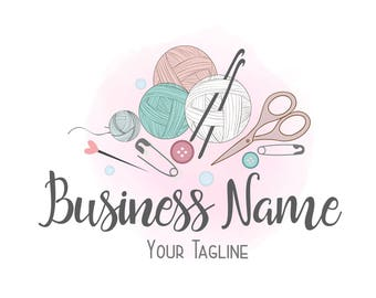 Custom logo design, crochet yarn logo, sew knitting logo, yarns logo, crochet sewing or knitting logo