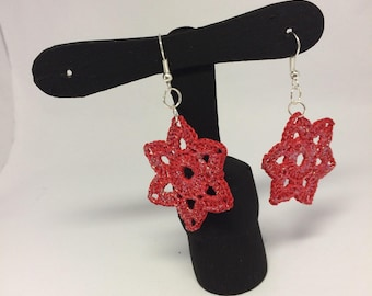 Flower Red lily passion-crochet earrings