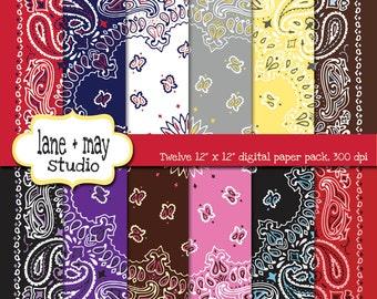 digital scrapbook papers - various colored bandana - INSTANT DOWNLOAD