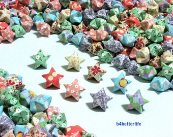 500pcs Hand-folded Origami Lucky Stars In Assorted Colors. #C132a. (XT paper series).