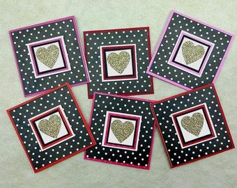 Mini Heart Card, 3x3 MIni Card, Love Cards, Lunchbox Note, Handmade Mini Card, Mini Love Note, Heart Card, Card for Kids, Love Note
