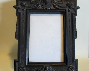 Antique Victorian vulcanite picture frame, ebonite; French, 1800's