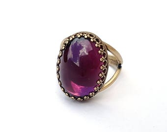 Bronze Amethyst Jewel Ring, Vintage Czech Glass, Adjustable Ring, Purple Ring, or Choose Rose Gold, Sterling Silver, February Birthstone