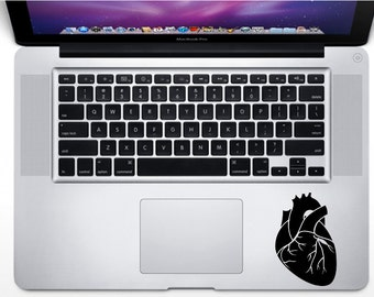 Anatomical Heart Macbook decal, Laptop Stickers, Removable Ipad decal, Medicine Love Sticker, Biology Decal Bumper Decal, Love Heart Decal