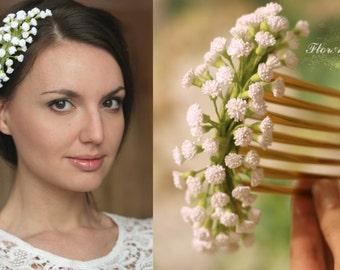 gypsophila comb, flower comb, wedding stuff, bride comb, gypshophils hair, bridesmaids comb, white headband, green comb, rustic headband