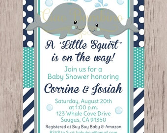 Etsy your place to buy and sell all things handmade printable whale baby shower invitation navy blue gray and turquoise invitation with gray whales filmwisefo Gallery