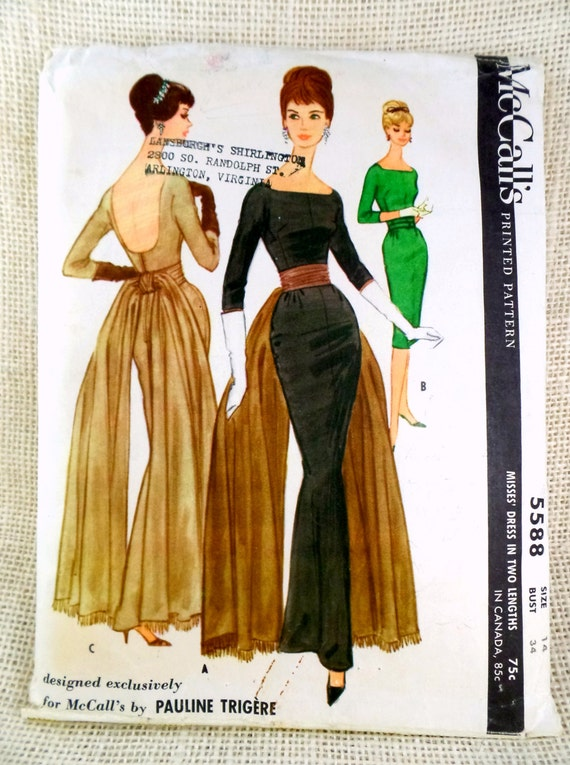 McCall\'s 5588, vintage pattern, sewing pattern, Bust 34 pattern ...