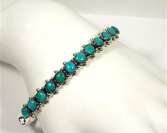 Vintage Natural Genuine Kingman Turquoise 925 Sterling Silver Handcrafted Cuff Bracelet