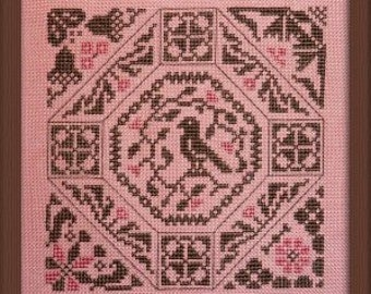 Bird Quaker – French counted cross stitch chart to work in 2 colours of threads.  Quaker style cross stitch Sampler.