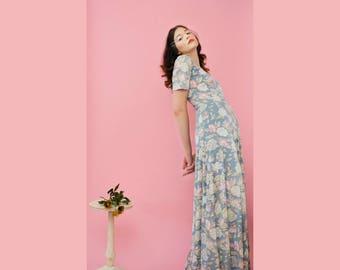 vintage 70s pastel floral maxi dress