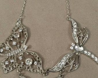 Butterfly, Dragonfly, Rhinestone Statement Necklace, Hand Designed, Silver, Plated Chain