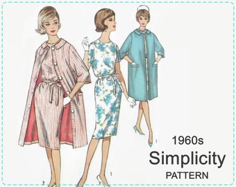 Vintage Simplicity 4359 Sewing Pattern - Misses' One Piece Dress and Coat - 1960s Dress and Coat Pattern - Size 14 Bust 34 - UNCUT