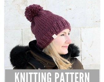 Knitting Pattern / Simple knit hat with pom pom / Winter hat pattern / Easy hat knitting pattern / Ski hat