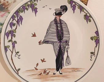 Plate No.4 Demi Deuil Designed - old print from circa 1900 Cabinet plate - by VILLEROY & BOCH