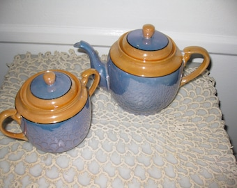 "LUSTERWARE TEAPOT And SUGARBOWL Blue And Lusterware Gold Tepot 5 1/2"" Tall and Sugar Bowl 4"" High From The 30's Or Before"