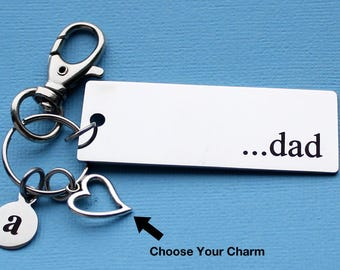 Personalized Father Key Chain Dad Stainless Steel Customized with Your Charm & Initial - K895
