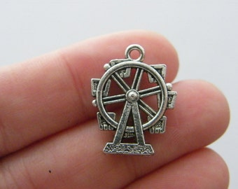 BULK 20 Ferris wheel pendants antique silver tone P457